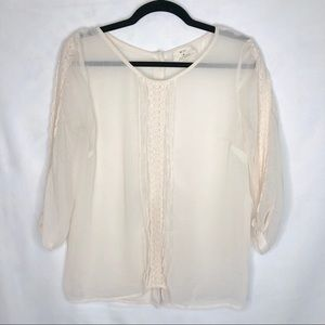UO Pins & Needles Sheer Lace Trim Button Blouse